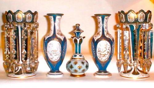 An Antique Bohemian Set of Overlay Glass