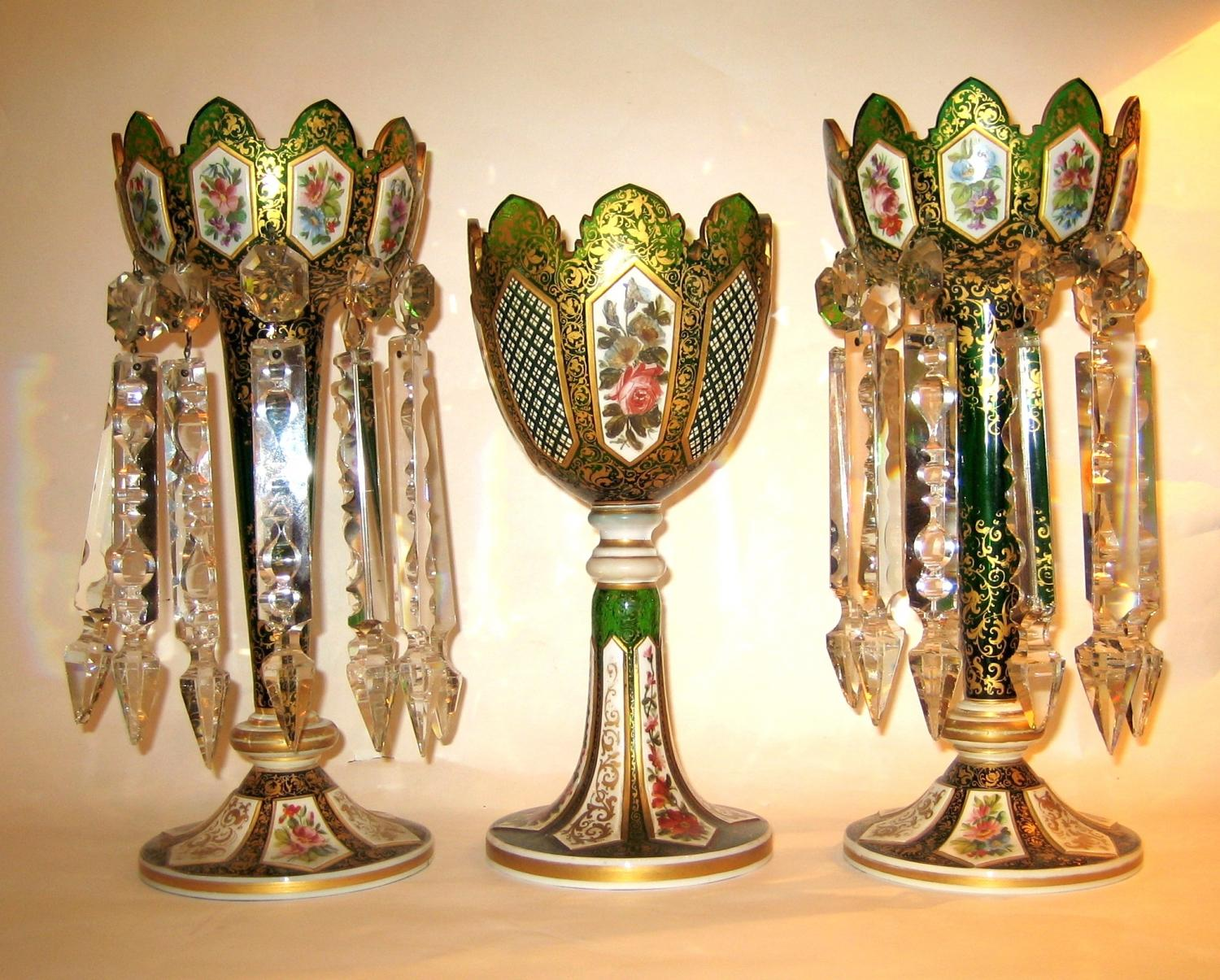 An Pair of Antique Bohemian Glass Lustres