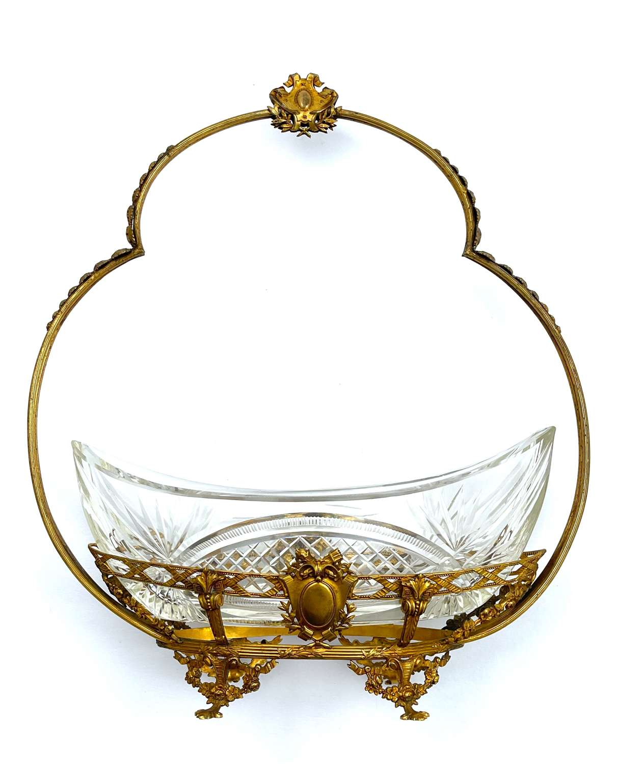 Antique French Napoleon III  Cut Crystal and Dore Bronze Basket.