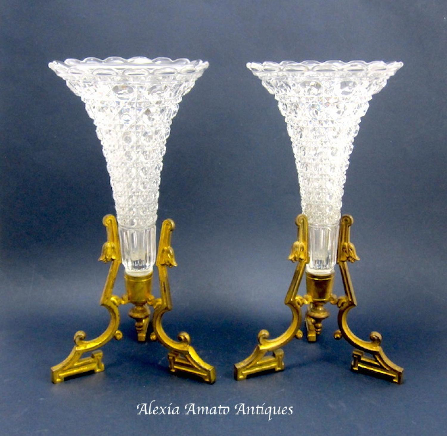 A Pair of Antique Baccarat French Cut Crystal