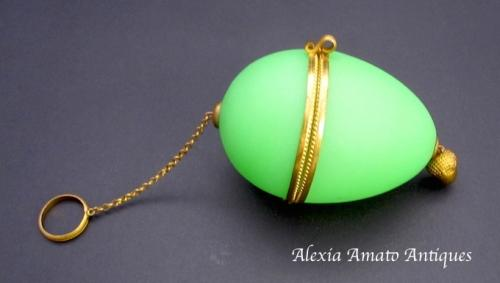 Antique Palais Royal French Opaline Glass Egg