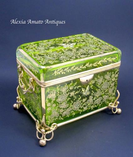 Huge Antique Moser Butterfly Casket Box