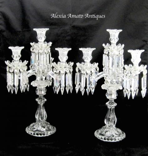 Antique Tall Pair Signed Baccarat Candelabra