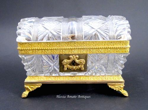 Charles X Antique Cut Crystal BACCARAT Casket