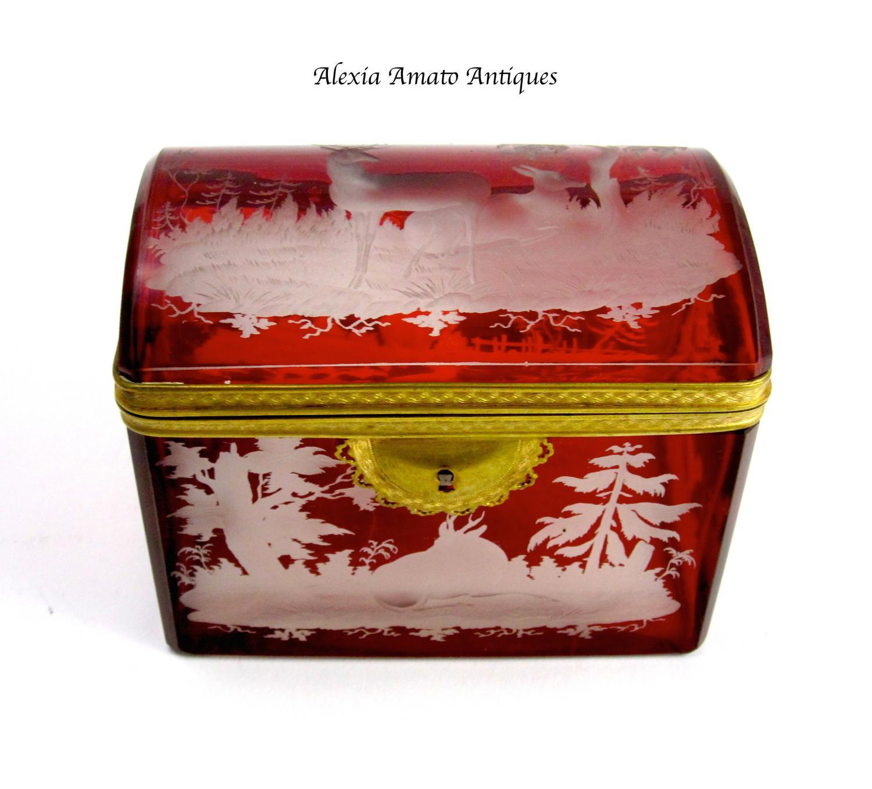 Antique Bohemian Engraved Deer Glass Casket