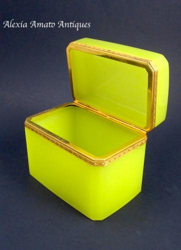Rare Antique Yellow Opaline Casket Box