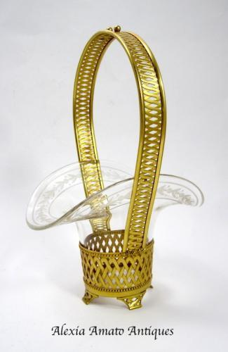 Antique Napoleon III Crystal & Bronze Basket