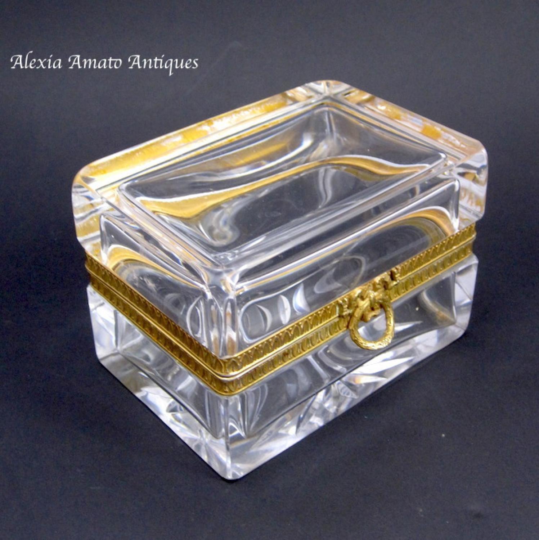 Antique Baccarat Cut Glass Casket Bow Box
