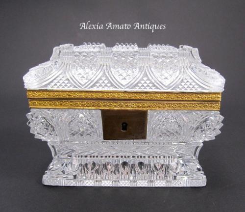 Antique Baccarat Highly Cut Glass Casket
