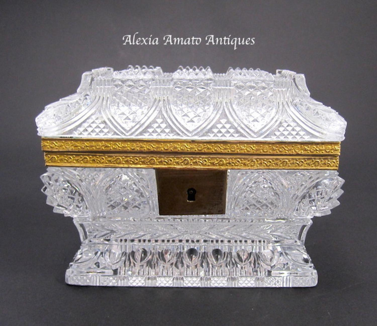 Antique Baccarat Highly Cut Glass Casket