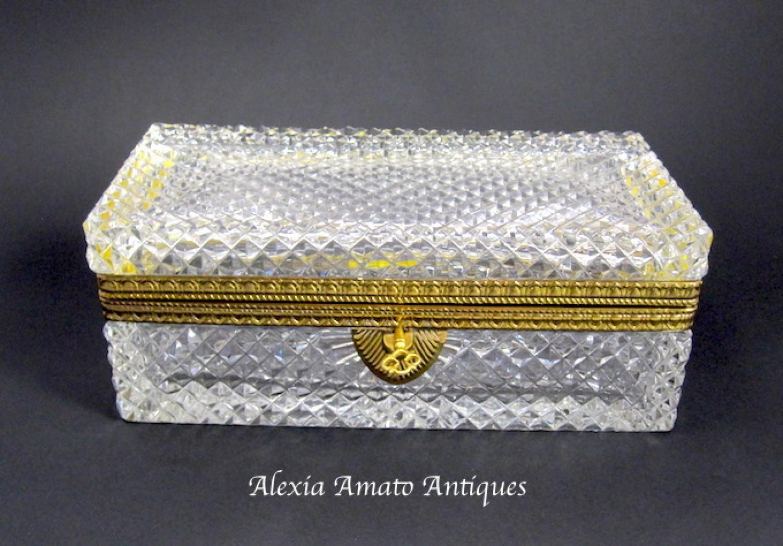 Large Antique French Crystal Casket Box & Key