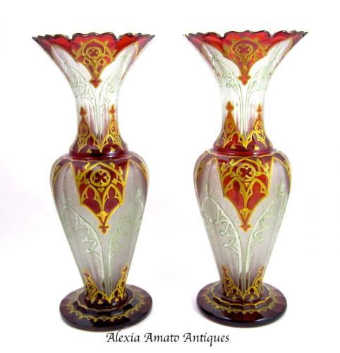 Pair of Antique Bohemian Red Glass Vases