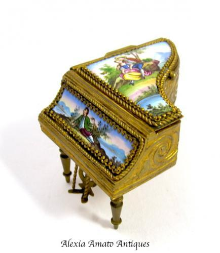 Miniature Antique French Enamelled Piano Box