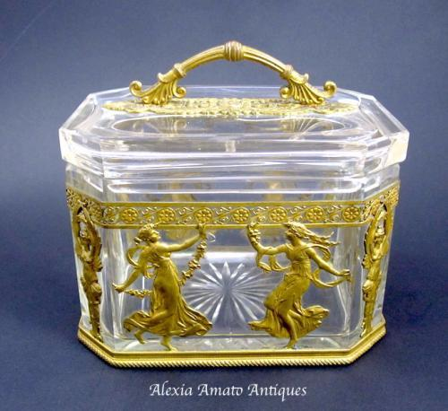 Antique Nap III French Crystal & Bronze Box