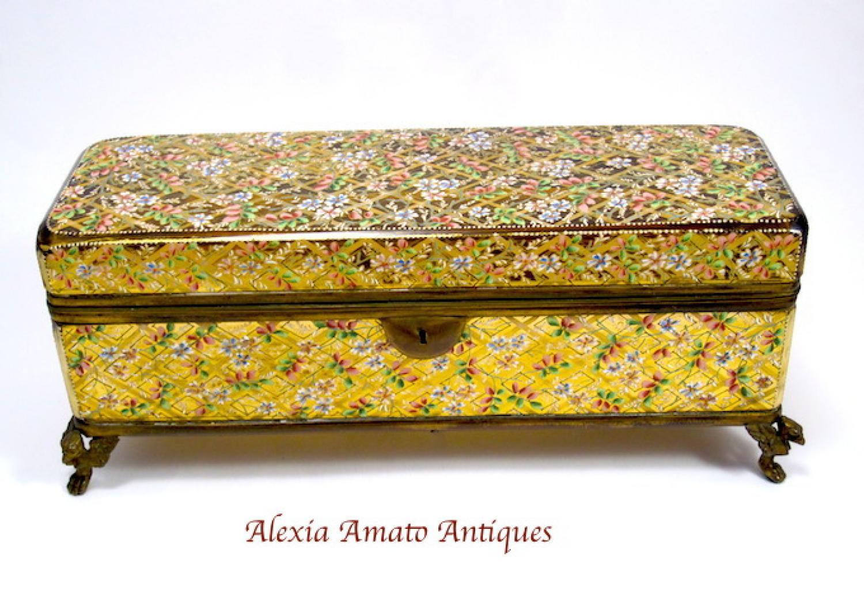 Antique Bohemian Moser Long Casket Box