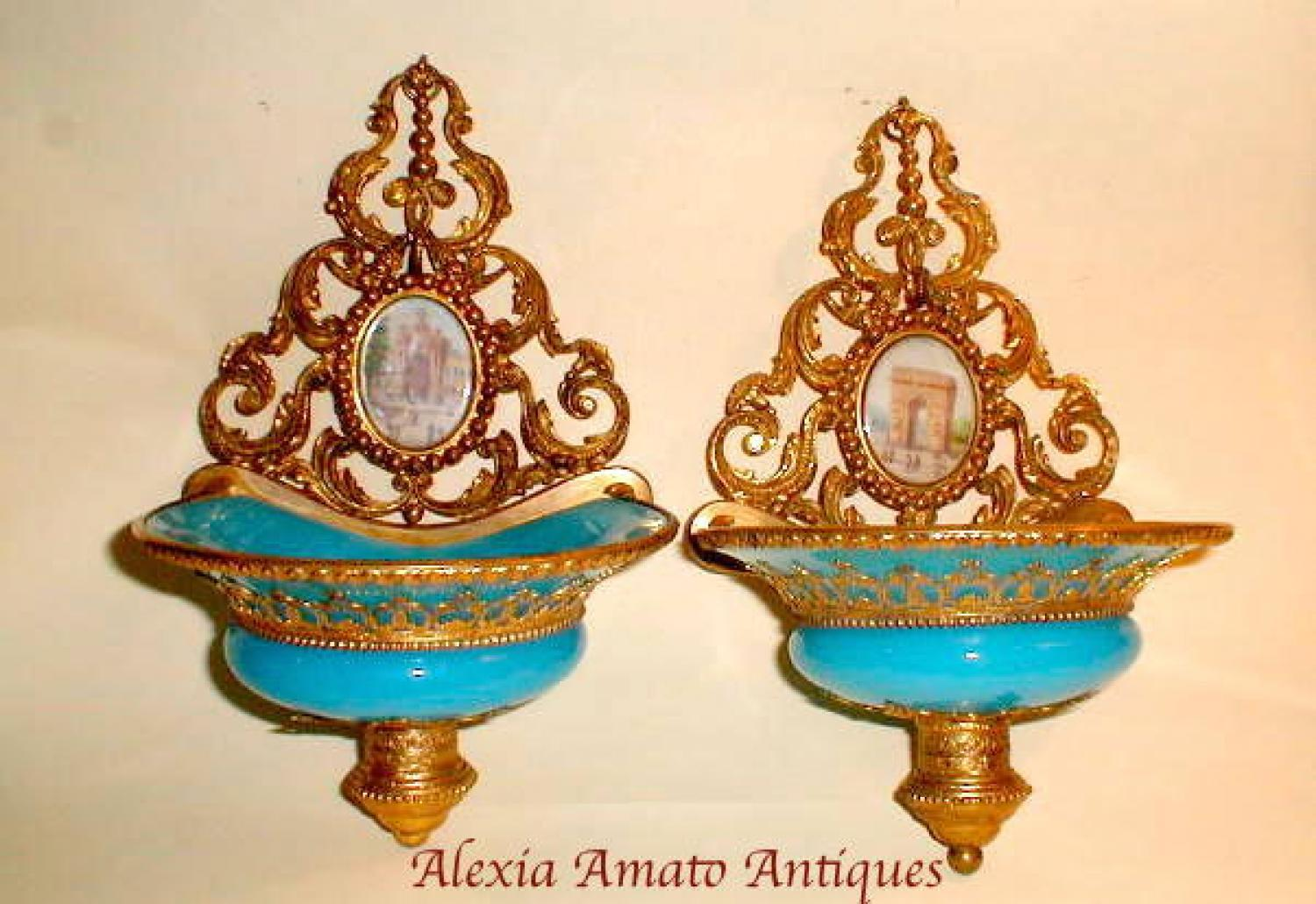 Pair Unusual Antique French Opaline Wall Hang