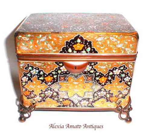 Large Antique Moser Enamelled Glass Casket Bo