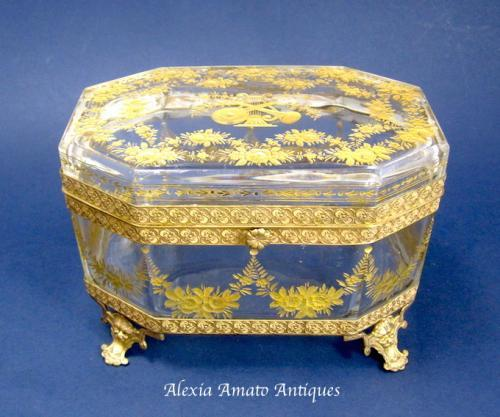 Antique Baccarat Gold Enamelled Casket Box