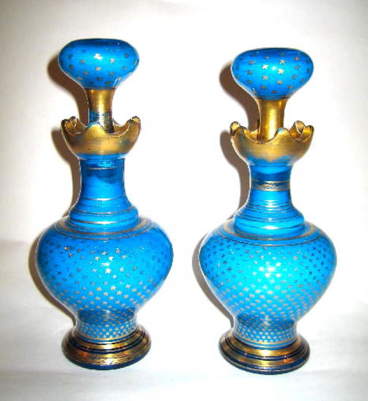 Pair Antique French Blue Opaline Scent Bottle