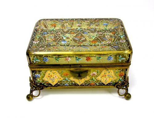 Antique Bohemian Moser Enamelled Casket Box