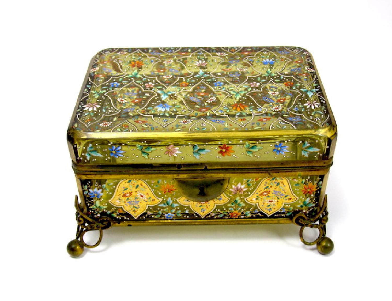 Antique Bohemian Moser Enamelled Casket Box