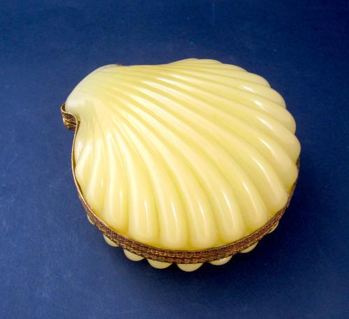 Antique French Yellow Opaline Casket Box