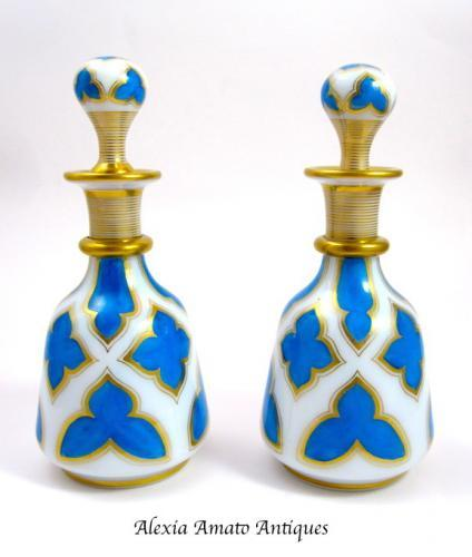 Pair Antique French Opaline Perfume Bottles