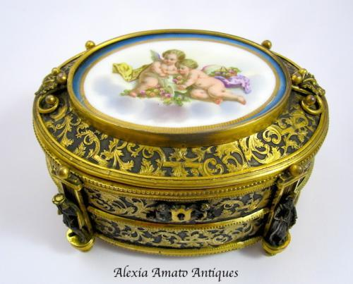 Antique Signed French Porcelain & Bronze Box