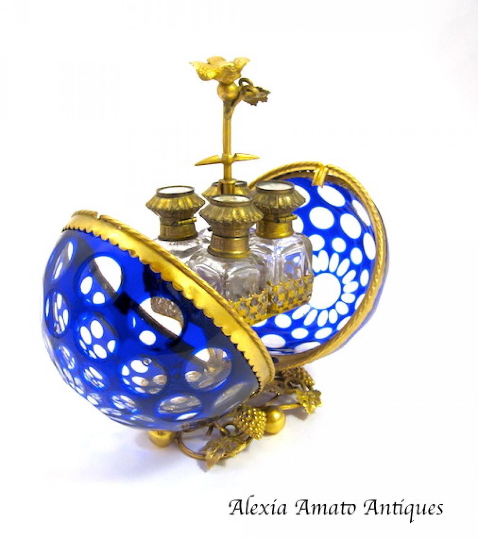 Antique French Blue & Clear Scent Casket Box