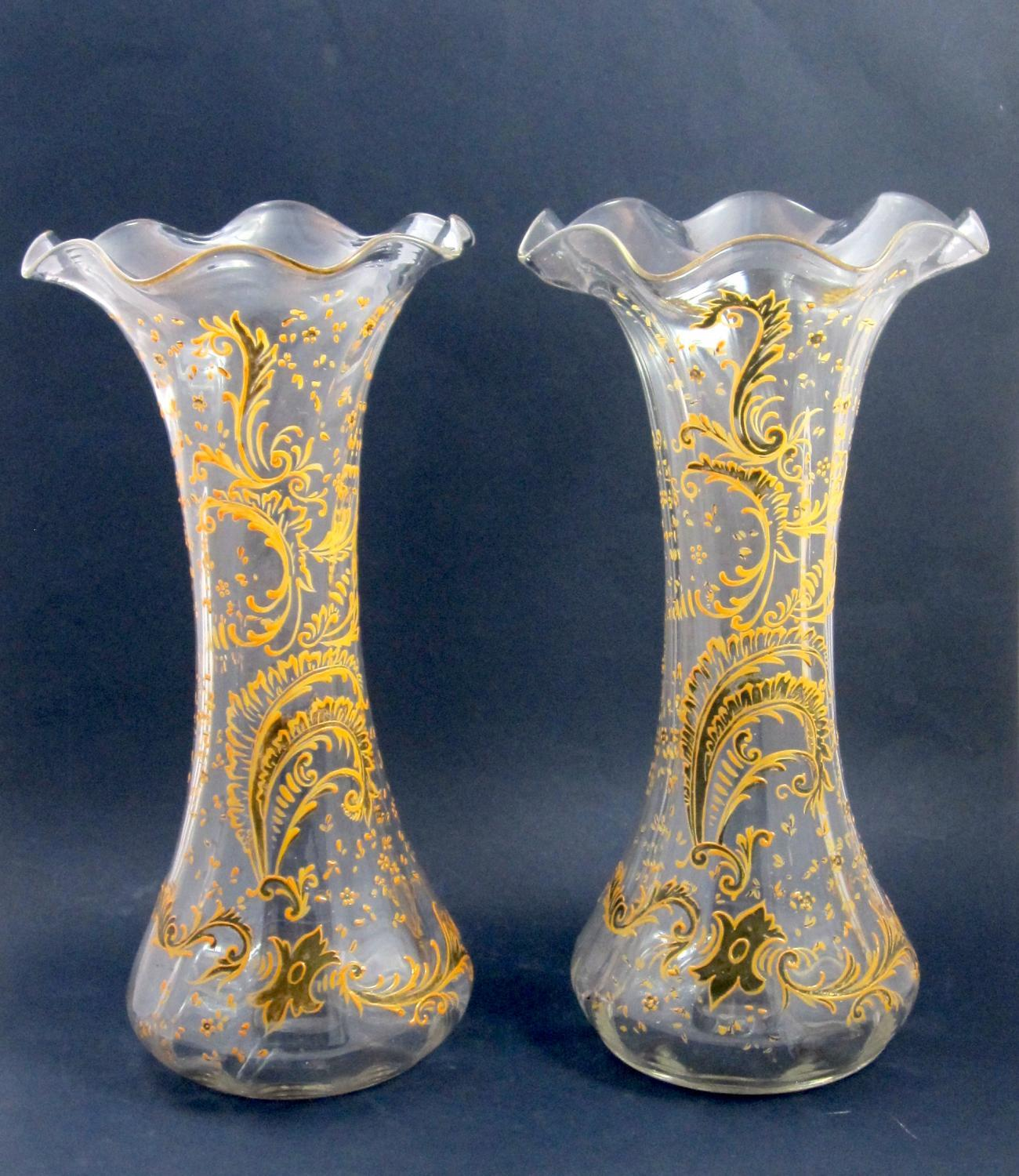 Tall Pair of Antique French Enamelled Vases