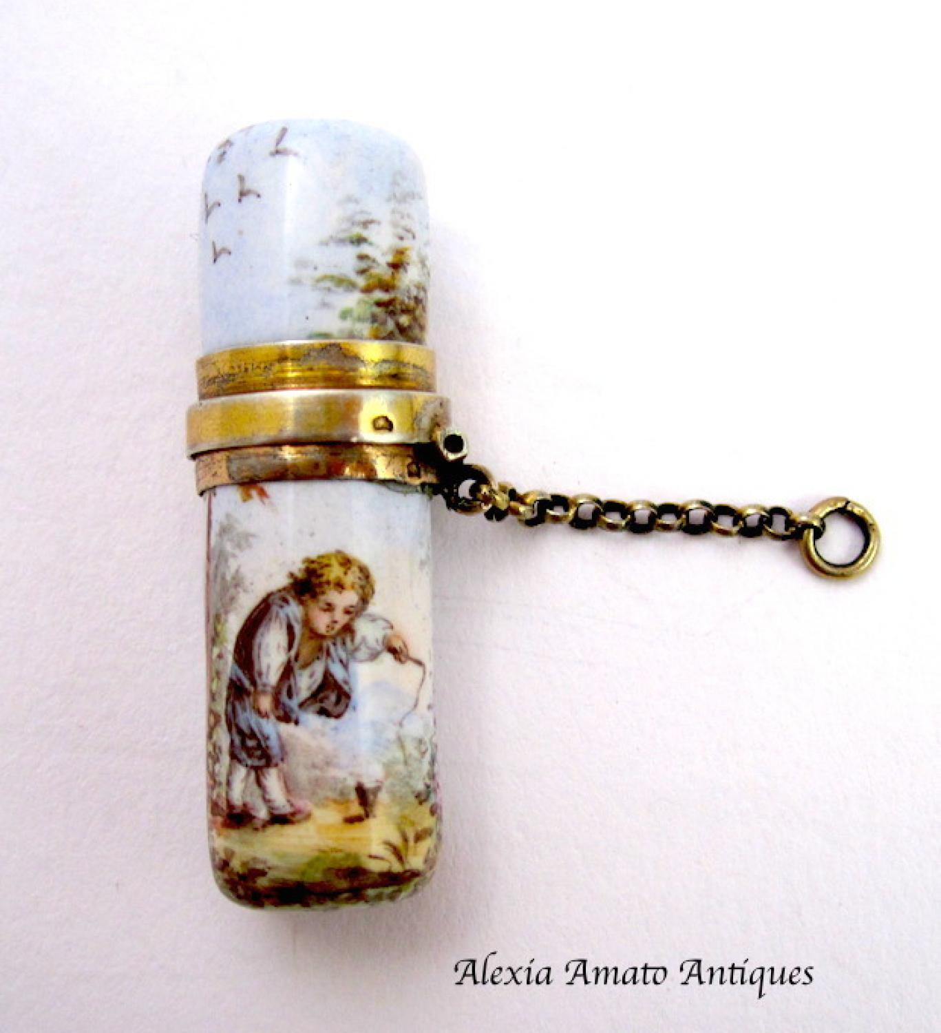 Antique Miniature Chatelaine Scent Bottle