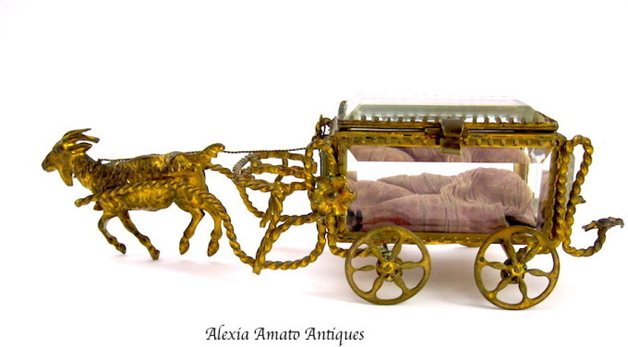 Antique French Goat Cart Casket