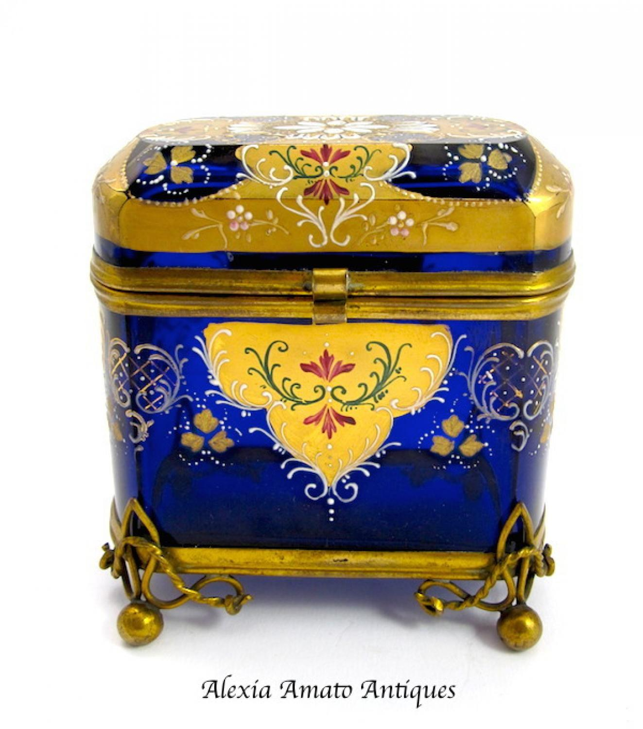 Antique Bohemian Blue Enamelled Casket Box
