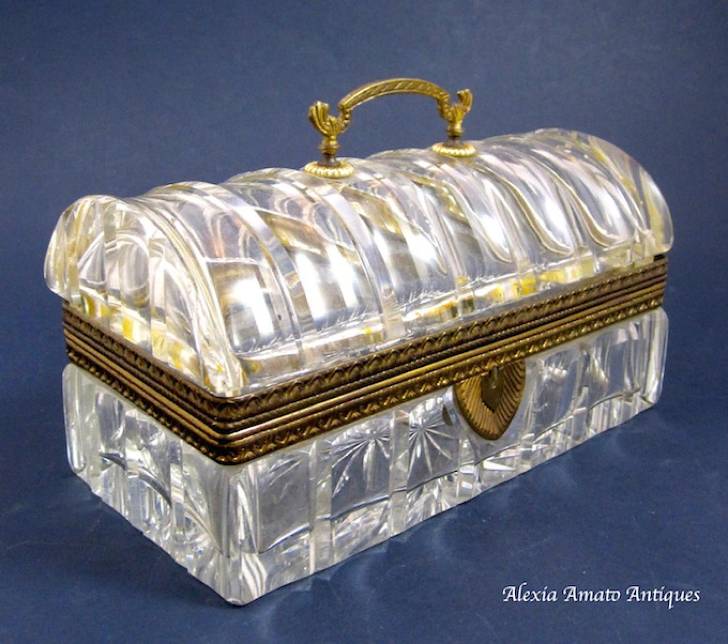 Long Antique French Crystal Casket Box