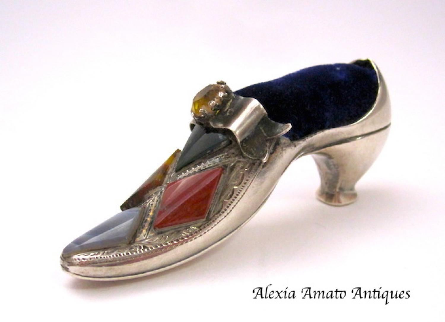 Rare Antique Silver  Shoe Pin Cushion