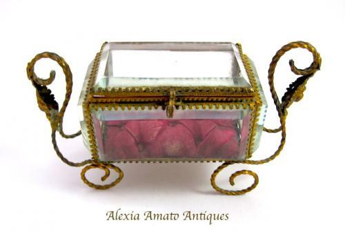 Antique French Glass Casket Box