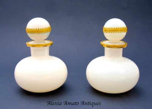 Pair Charles X Opaline Glass Perfume Bottles