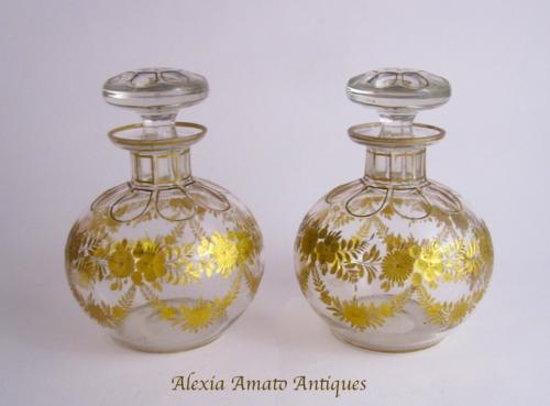 Pair of French St Louis Scent Bottles