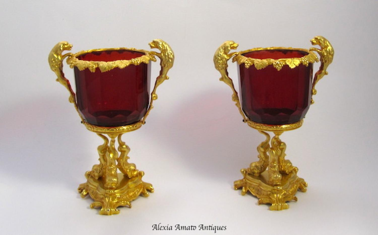 Exquisite Pair French Bronze & Crystal Vases