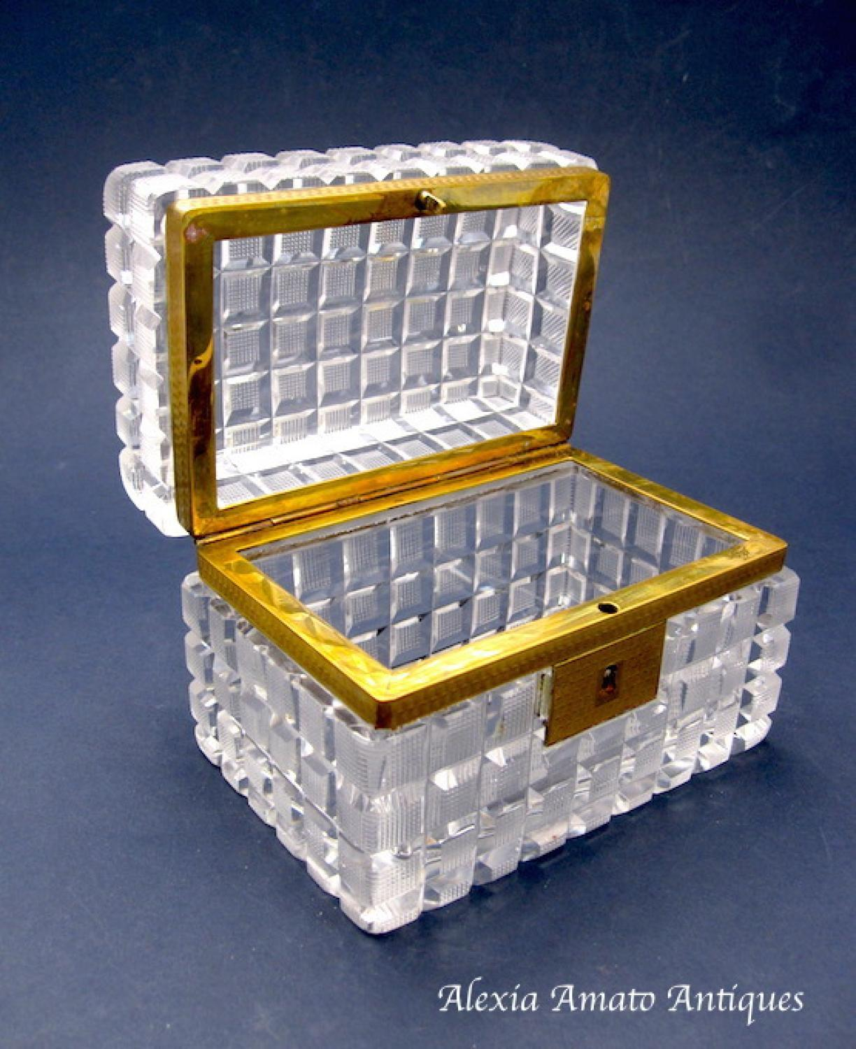 Antique French Cut Crystal Glass Casket Box