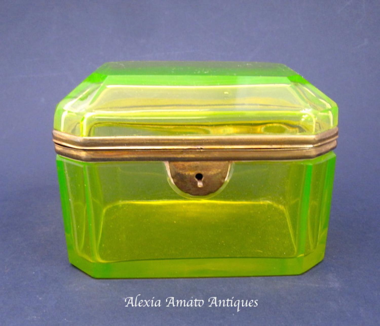 Antique Bohemian Uranium Casket