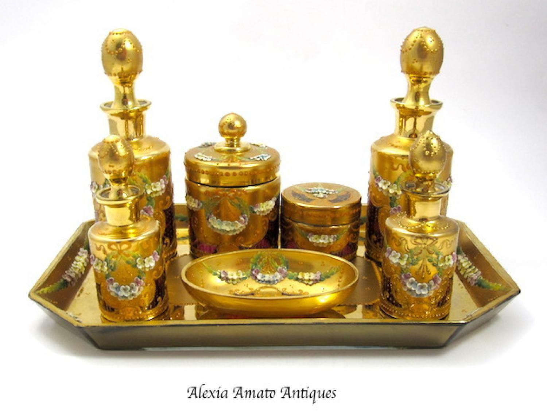 Rare Antique MOSER Dressing Table Set