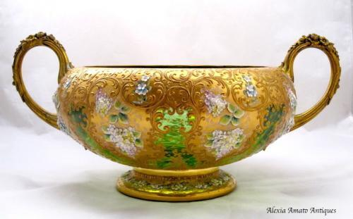 Huge Antique Moser Glass Bowl