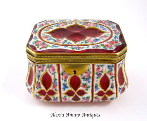 Rare Antique Bohemian Overlay Casket Box
