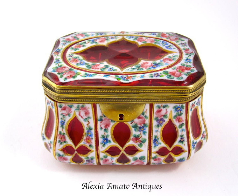 Rare Antique Bohemian Overlay Casket Box