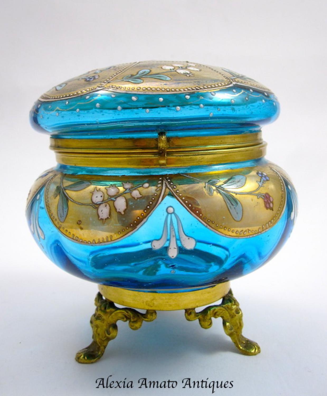 Antique Bohemian Turquoise Casket Box