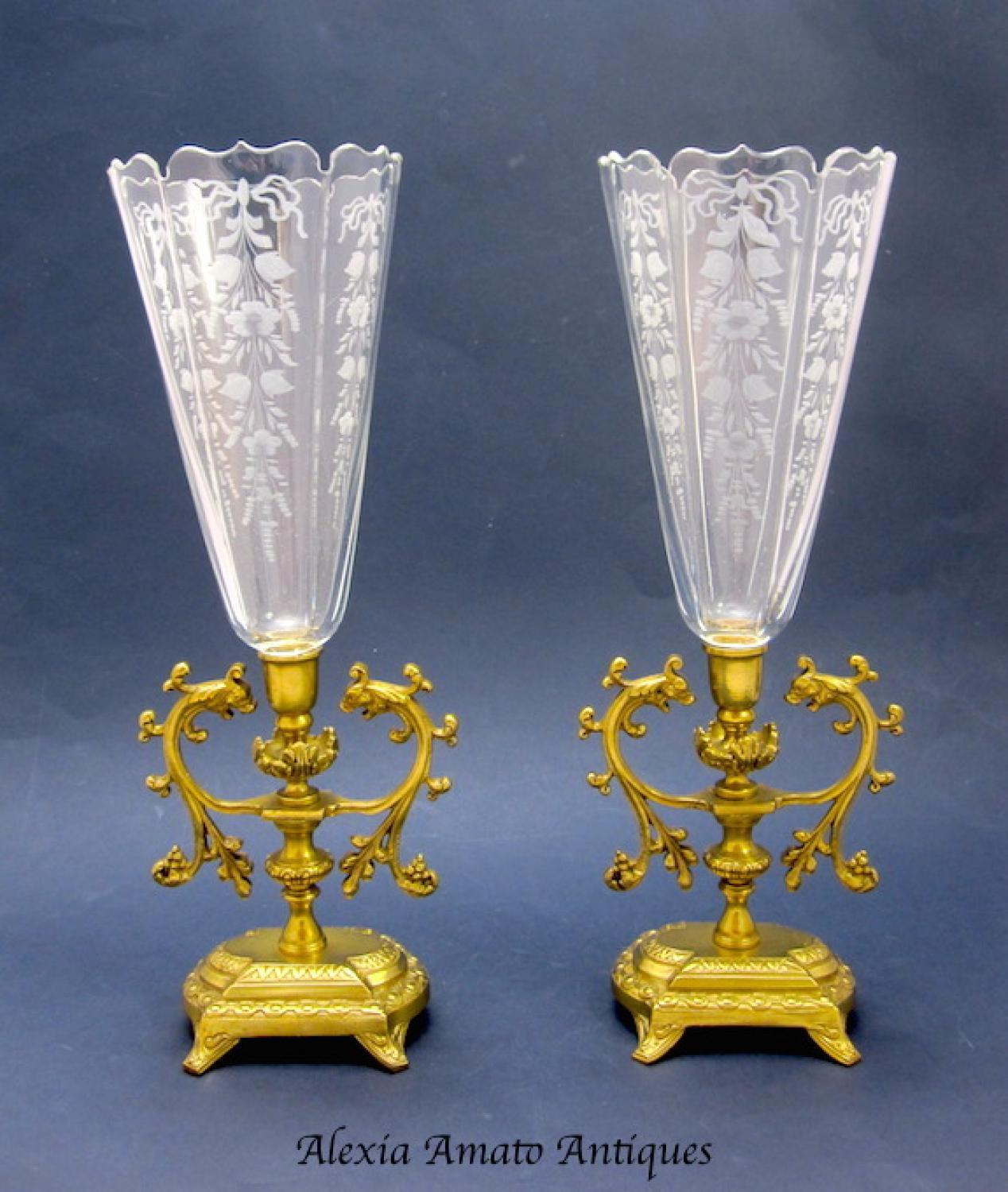 Pair of Elegant Antique French Crystal Vases