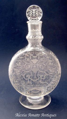 Large Signed Antique BACCARAT Engraved Scent