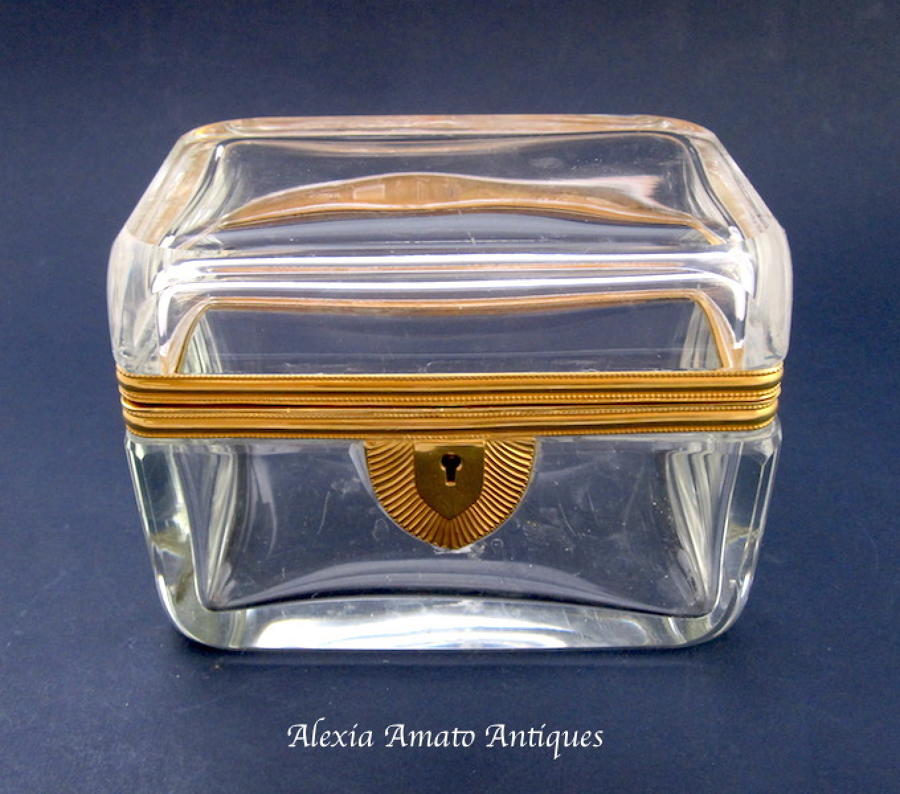 Antique French Crystal Casket Box