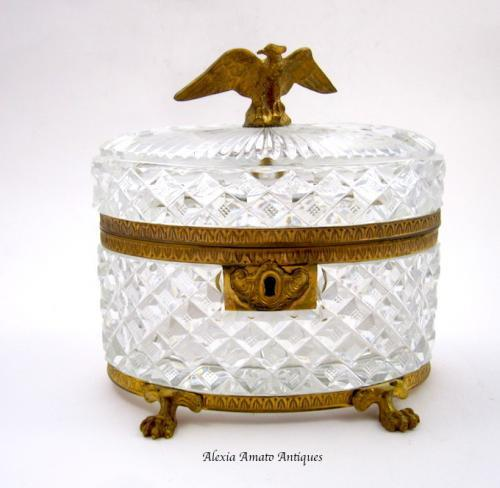 Antique Baccarat Cut Crystal Glass Casket Box
